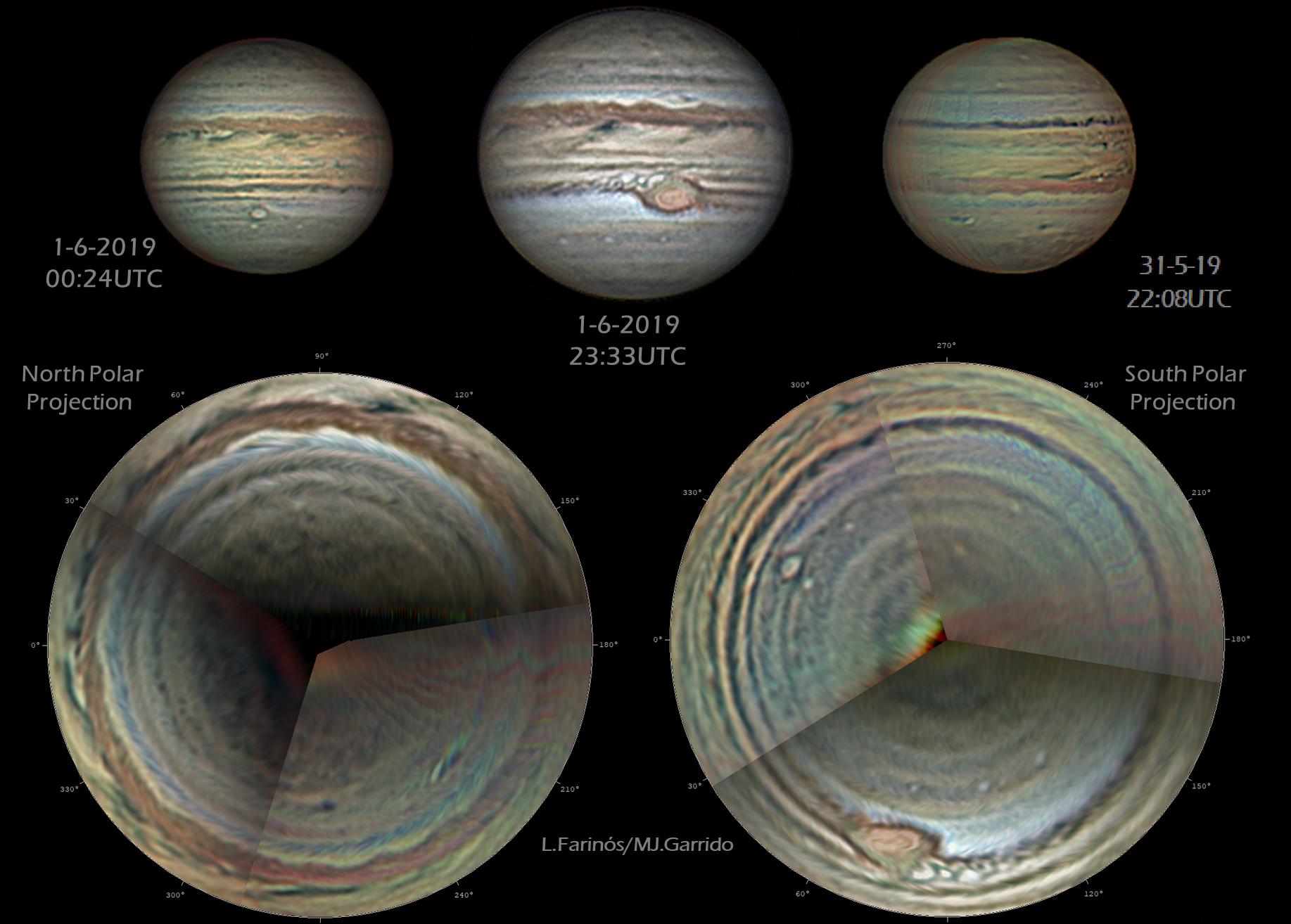 Proyección completa de los polos de Júpiter