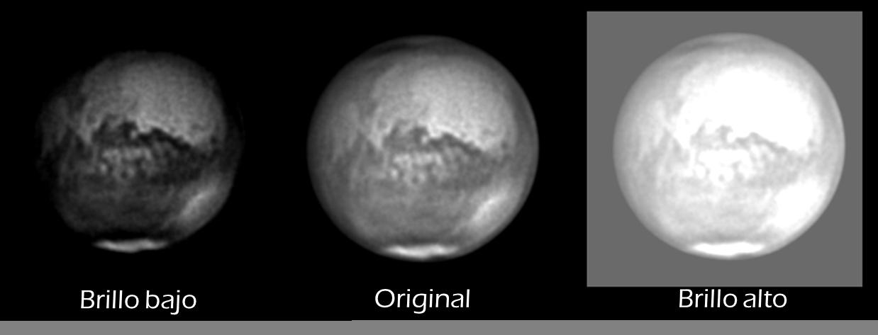 ajuste de brillo en astrofotografía planetaria