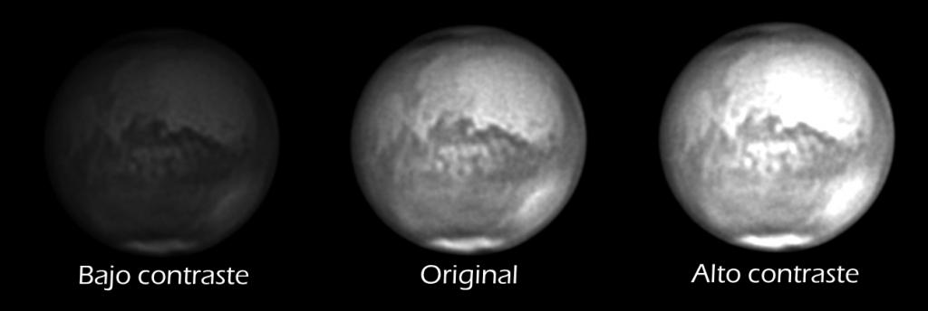 ajuste de contraste en astrofotografía planetaria