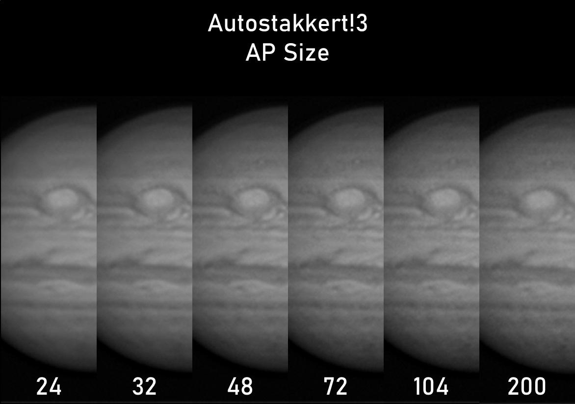 Apilado en Autostakkert comparativa AP Size