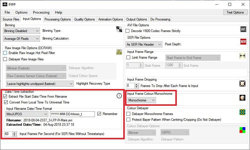 Configuracion recomendadas en entrada PIPP