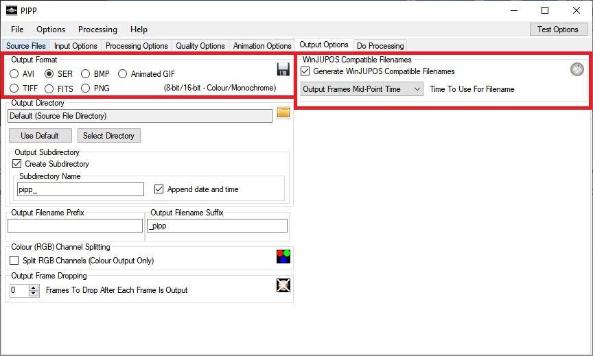 Configuracion recomendada en archivo de salida PIPP