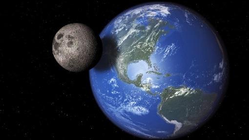 tierra y luna desde el espacio