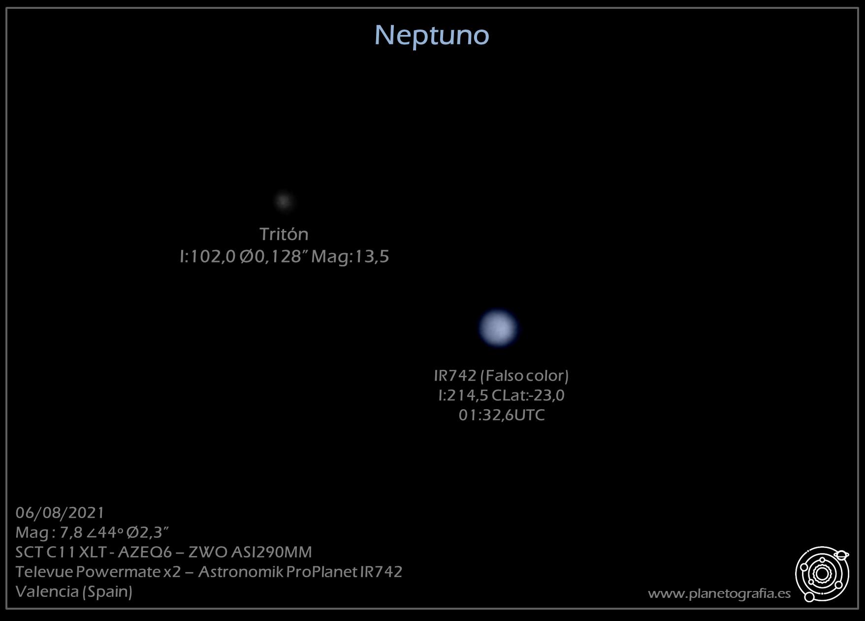 astrofotografia planetaria triton neptuno